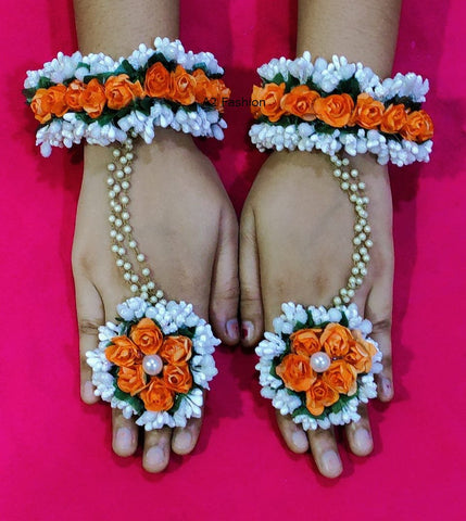 Orange Color Artificial Flowers and Beads Women's Hathphool - A2350550FHP4