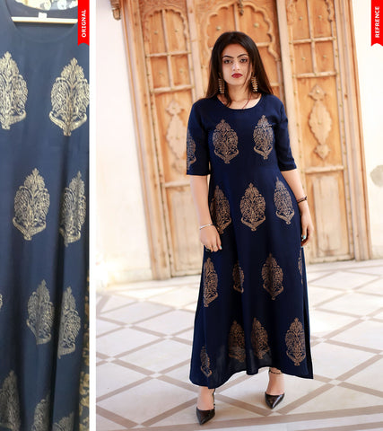 Navy Blue Color Rayon Handblock Printed Long Flared Stitched Kurti - A28-NAVY-BLUE