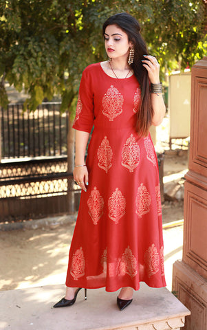 Red Color Rayon Handblock Printed Long Flared Stitched Kurti - A28-RED