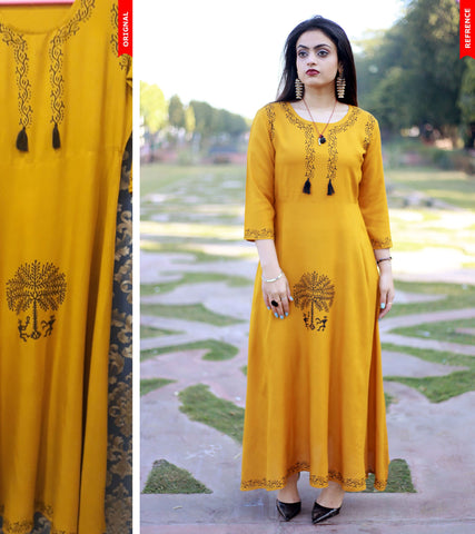 Mustard Color Rayon Handblock Printed Long Flared Stitched Kurti - A29-MUSTURD