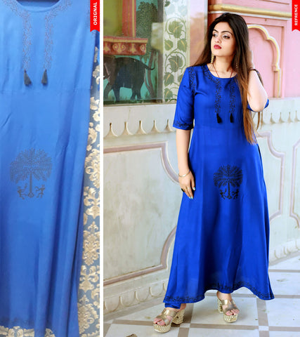Royal Blue Color Rayon Handblock Printed Long Flared Stitched Kurti - A29-ROYAL-BLUE