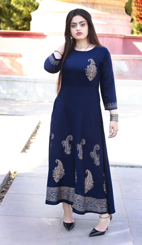 Navy Blue Color Rayon Handblock Printed Long Flared Stitched Kurti - A30-NAVY-BLUE