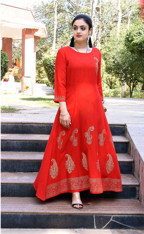 Red Color Rayon Handblock Printed Long Flared Stitched Kurti - A30-RED