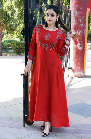 Red Color Rayon embroidery design Long Stitched Kurti - A32-RED