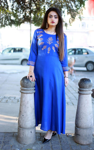 Royal Blue Color Cotton Slub  embroidery design Long Stitched Kurti - A32-ROYAL-BLUE