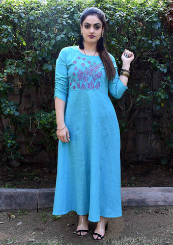 Sky Blue Color Cotton Slub Handblock Printed Long Flared Stitched Kurti - A33-SKY-BLUE