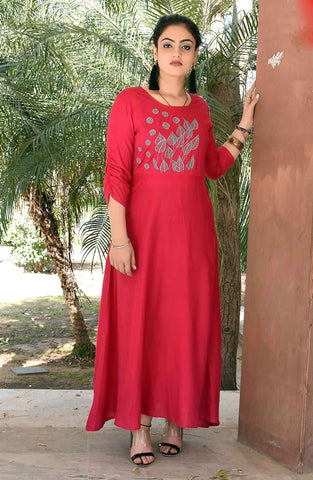 Pink Color Rayon petch Work Long Flared Stitched Kurti - A34-PINK
