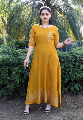 Mustard Color Rayon petch Work Long Flared Stitched Kurti - A37-Musterd