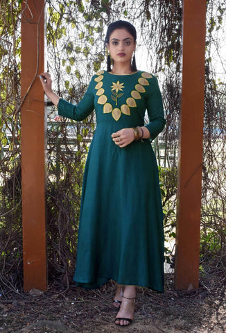 Green Color Rayon Staright Slit Stitched Kurti - A38-GREEN