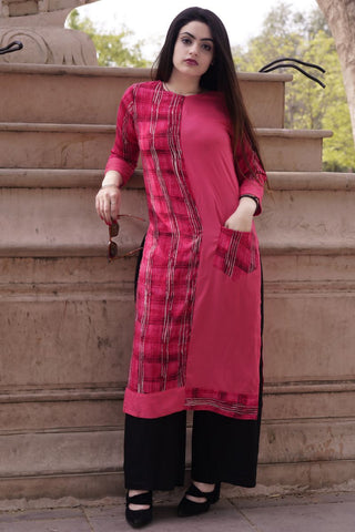 Pink Color Rayon Staright Slit Stitched Kurti - A39-Pink
