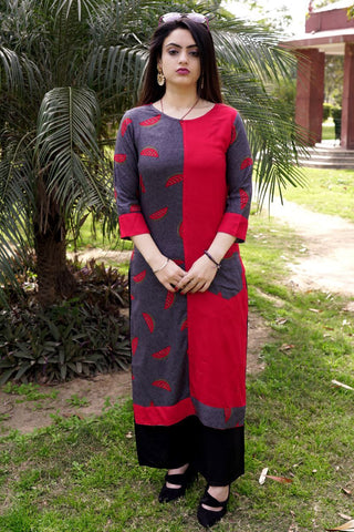 Red Color Rayon Crape Side Cut Slit Stitched Kurti - A39-Red