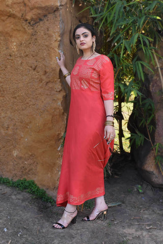 Peach Color Rayon Crape Side Cut Slit Stitched Kurti - A40-PEACH