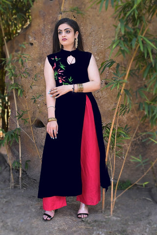 Navy Blue Color Rayon Crape Side Cut Slit Stitched Kurti - A42-NAVYBLUE