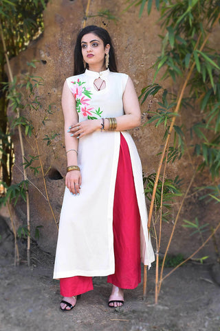 White Color Rayon Crape Side Cut Slit Stitched Kurti - A42-WHITE