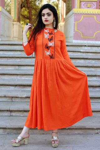 Orange Color Rayon Embroidery Long Flared Stitched Gown - A44-ORANGE