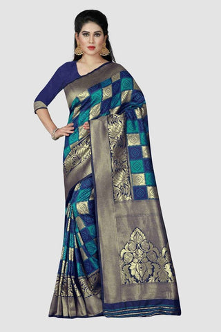 Navy Blue Color Banarasi Silk Women's Zari Work Saree - A461B