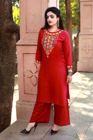 Red Color Rayon Embroidery  Work Straight Stitched Kurti - A47-RED