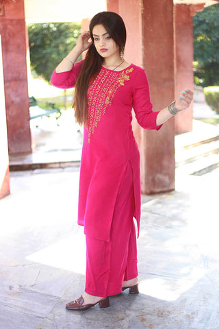 Red Color Rayon Zari Work Straight Work Stitched Kurti - A49-PINK