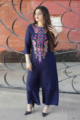 Buy Blue Color Rayon Zari Work Straight Work Stitched Kurti