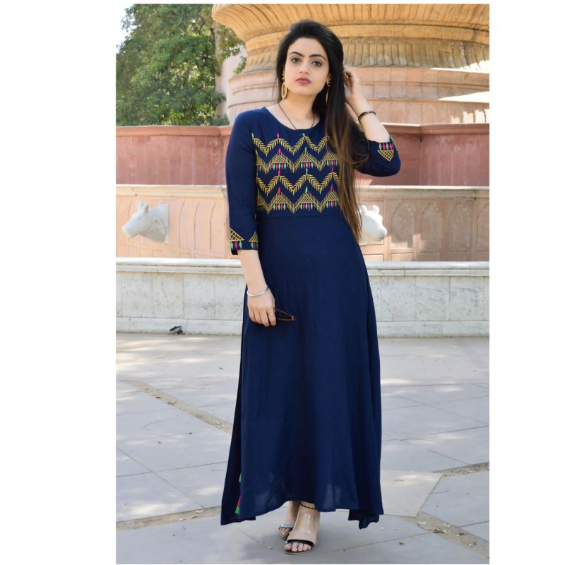 Navvy Blue Color Rayon Embroidery   Staright Stitched Kurti - A52-navy