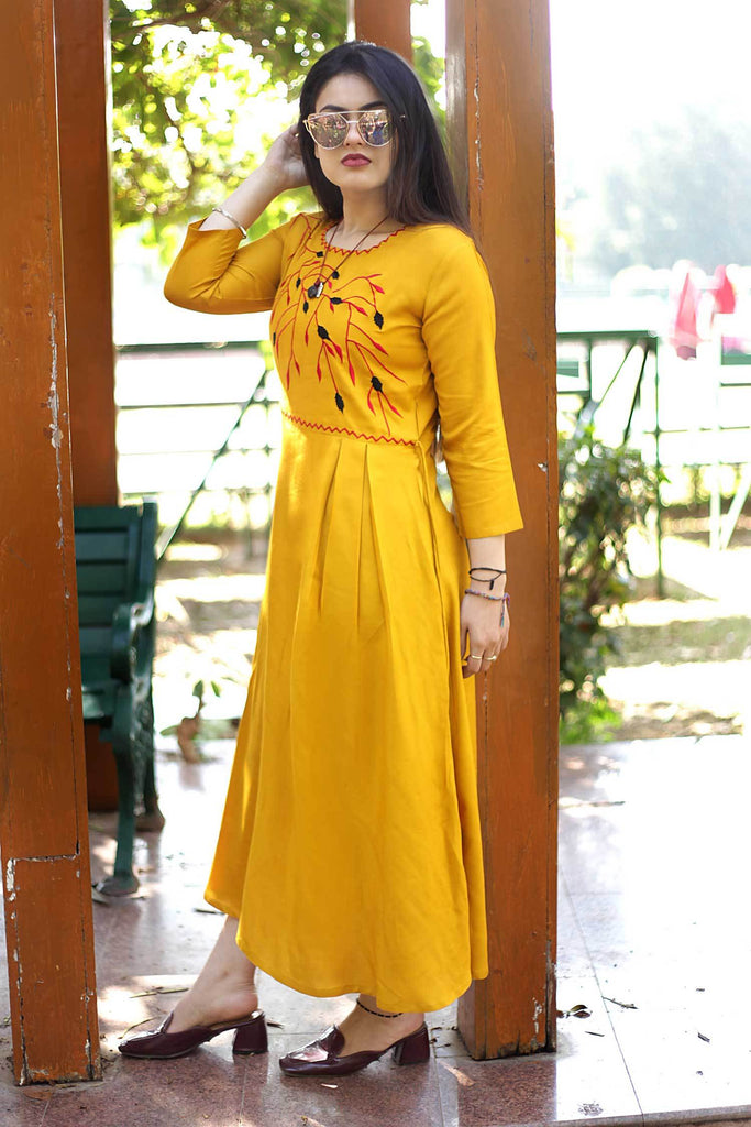Buy Musterd Color Rayon Embroidery Long Flared Stitched Kurti