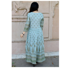 Teal Blue Color Rayon Long Handblock Printed Stitched Gown - A54-TRUK
