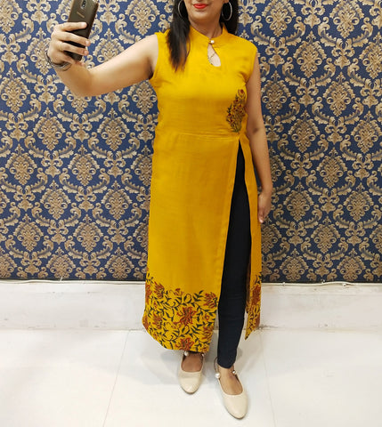 Mustard Color Rayon Stitched Kurti - A61-MUSTERD