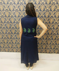 Navy Blue Color Rayon Stitched Kurti - A61-Blue