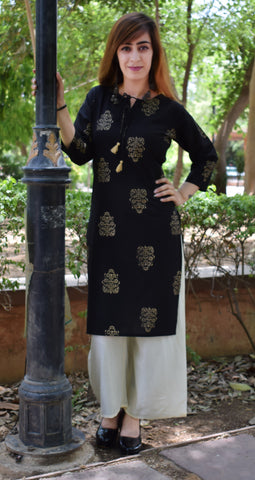 Black Color CottonBlock print Kurti - A62 Black