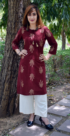 Brown Color CottonBlock print Kurti - A62 Brown