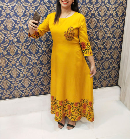 Mustered Color Rayon Stitched Kurti - A66musterd