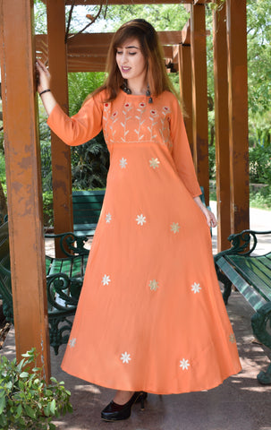 Peach Color Rayon Women's Stitched Kurti - A84_PEACH