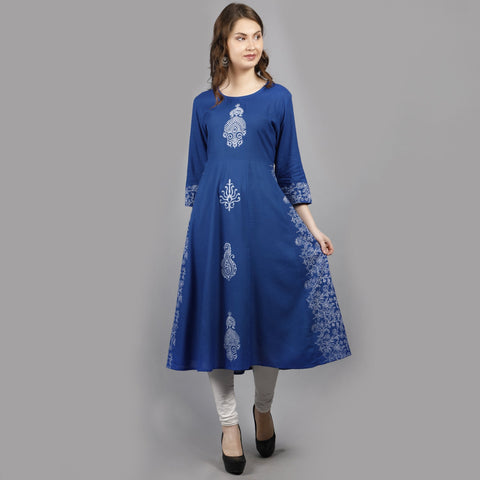 Blue Color Rayon Women's Stitched Kurti - AAN002BLUE