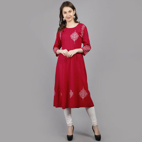 Red Color Rayon Women's Stitched Kurti - AAN003PINK