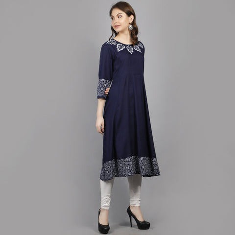 Navy Blue Color Rayon Women's Stitched Kurti - AAN004NAVYBLUE
