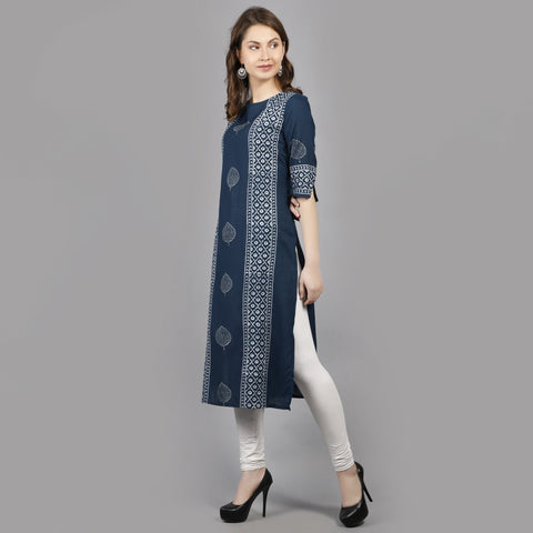 Blue Color Rayon Women's Stitched Kurti - AAN005