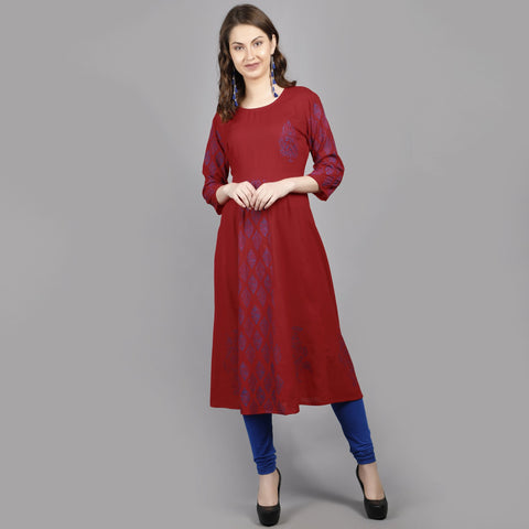 Red Color Rayon Women's Stitched Kurti - AAN006
