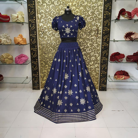 Navy Blue Color Taffeta Women's Lehenga - AB-226