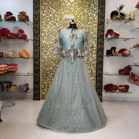 Pastel Grey Color Net Women's Lehenga - AB-252