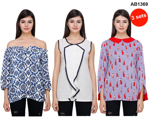 COMBOS-Multi Color Printed Tops - RCTPSS040 , RCTPSSO41 , RCTPSS042