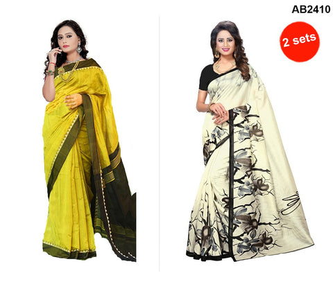 COMBOS-Bhagalpuri Printed Sarees - SRP-Misty Yellow , SRP-White Rose