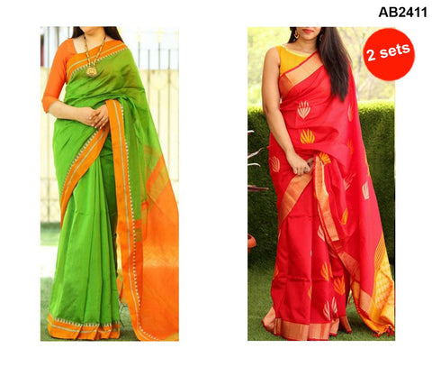COMBOS-Bhagalpuri Printed Sarees - SRP-Misty Green , SRP-Misty Red