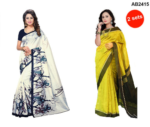 COMBOS-Bhagalpuri Printed Sarees - SRP-Blue Rose , SRP-Misty Yellow