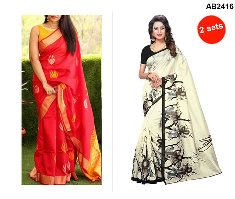COMBOS-Bhagalpuri Printed Sarees - SRP-Misty Red , SRP-White Rose