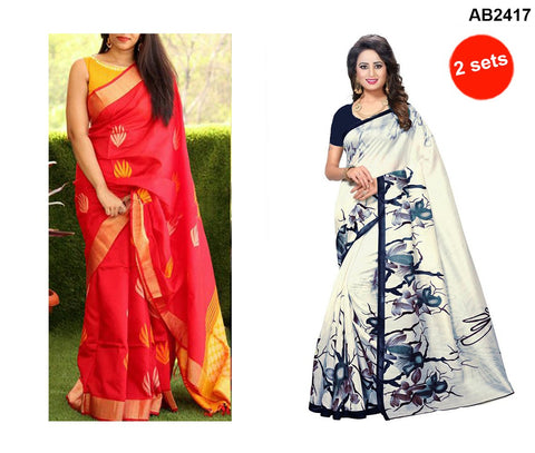 COMBOS-Bhagalpuri Printed Sarees - SRP-Misty Red , SRP-Blue Rose