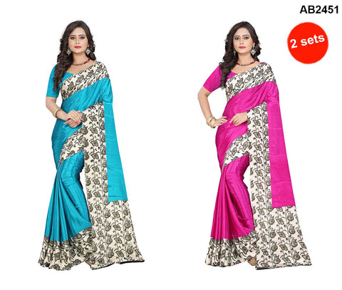 Pink and Blue Color Crepe Sarees - apple-crepe-blue , apple-crepe-pink