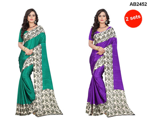 Purple and Green Color Crepe Sarees - apple-crepe-purple , apple-crepe-green