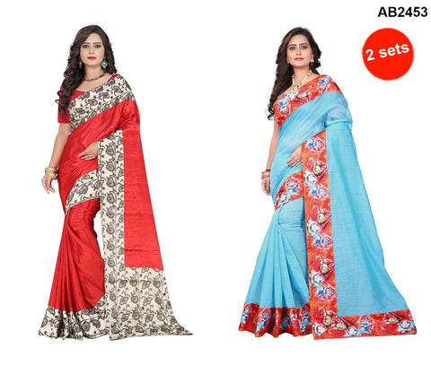 Blue and Red Color Chanderi Cotton and Crepe Sarees - Digitalprint-blue , apple-crepe-red