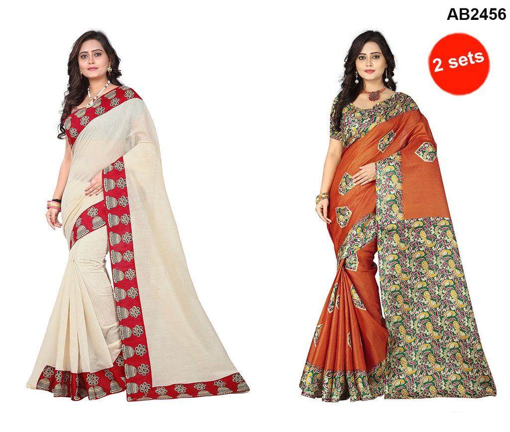 Buy Orange and Beige Color Khadi silk and Chanderi Cotton Sarees