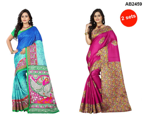 Pink and Blue Color Khadi Silk Sarees - ks-daya-pink , ks-race-blue